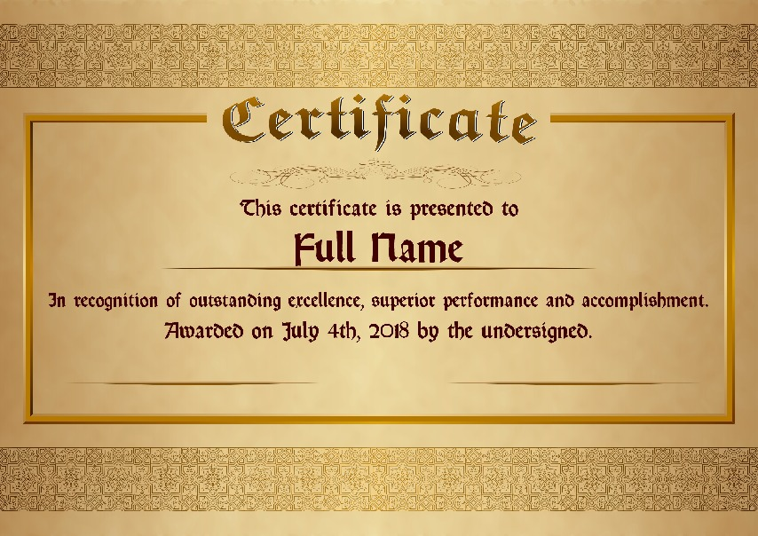 "Certificate as PDF file, ""golden style"" with customizable content"