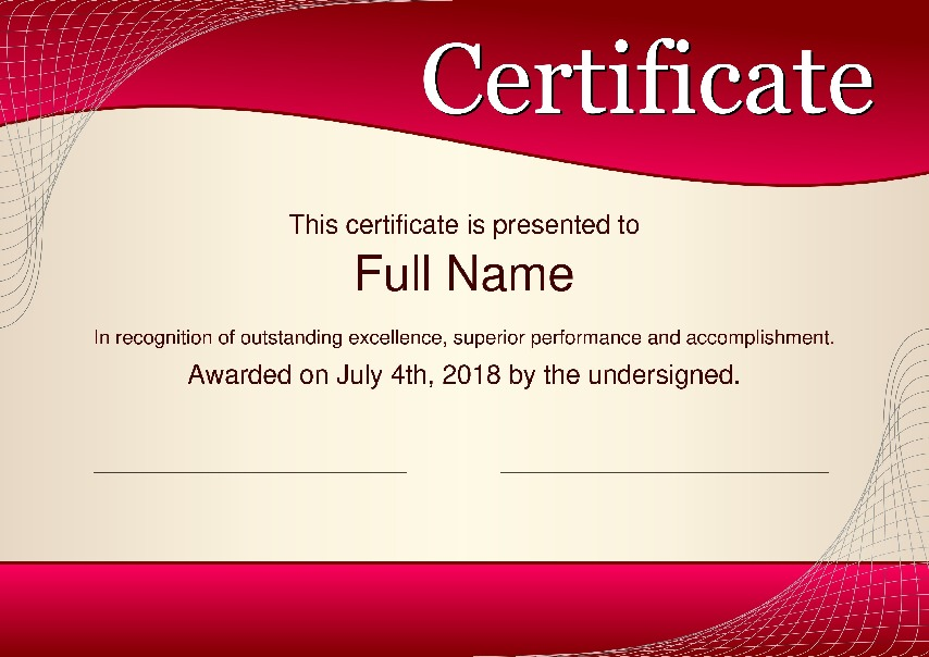 "Certificate as PDF file, ""modern red style"" with customizable content"