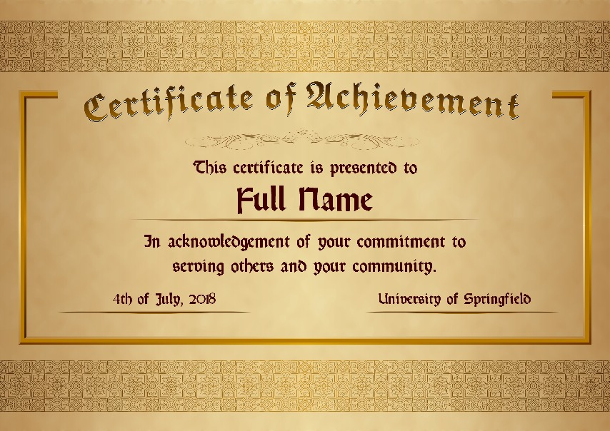 "Certificate of Achievement as PDF file, ""golden style"" with customizable content"