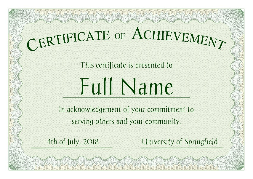 "Certificate of Achievement as PDF file, ""green style"" with customizable content"
