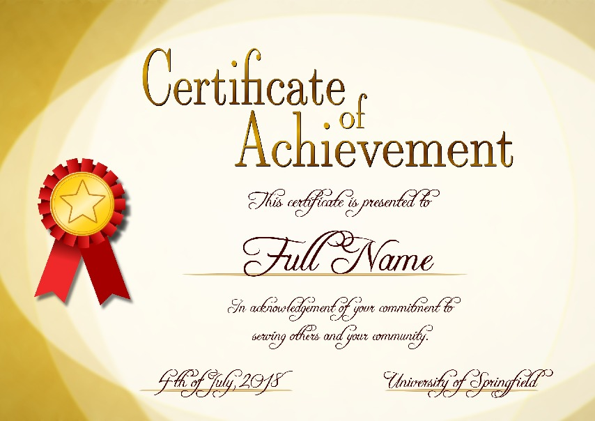 "Certificate of Achievement as PDF file, ""sunny style"" with customizable content"