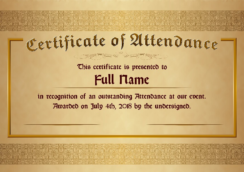 "Certificate of Attendance as PDF file, ""golden style"" with customizable content"