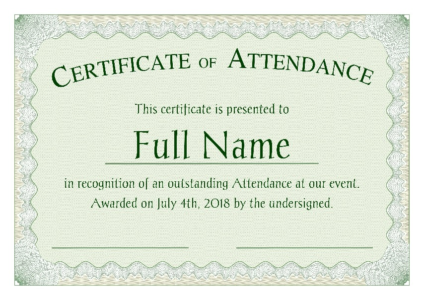 "Certificate of Attendance as PDF file, ""green style"" with customizable content"