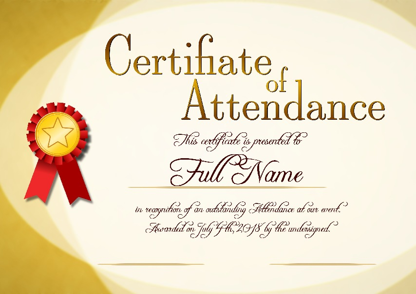 "Certificate of Attendance as PDF file, ""sunny style"" with customizable content"