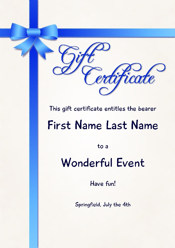 "Gift Certificate as PDF file, ""Blue Ribbon"" with customizable content"